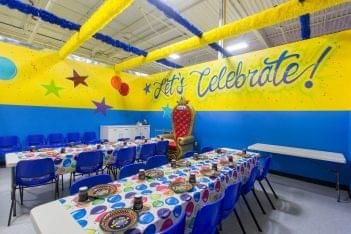 party room in Funzilla amusement center in Fairless Hills, PA