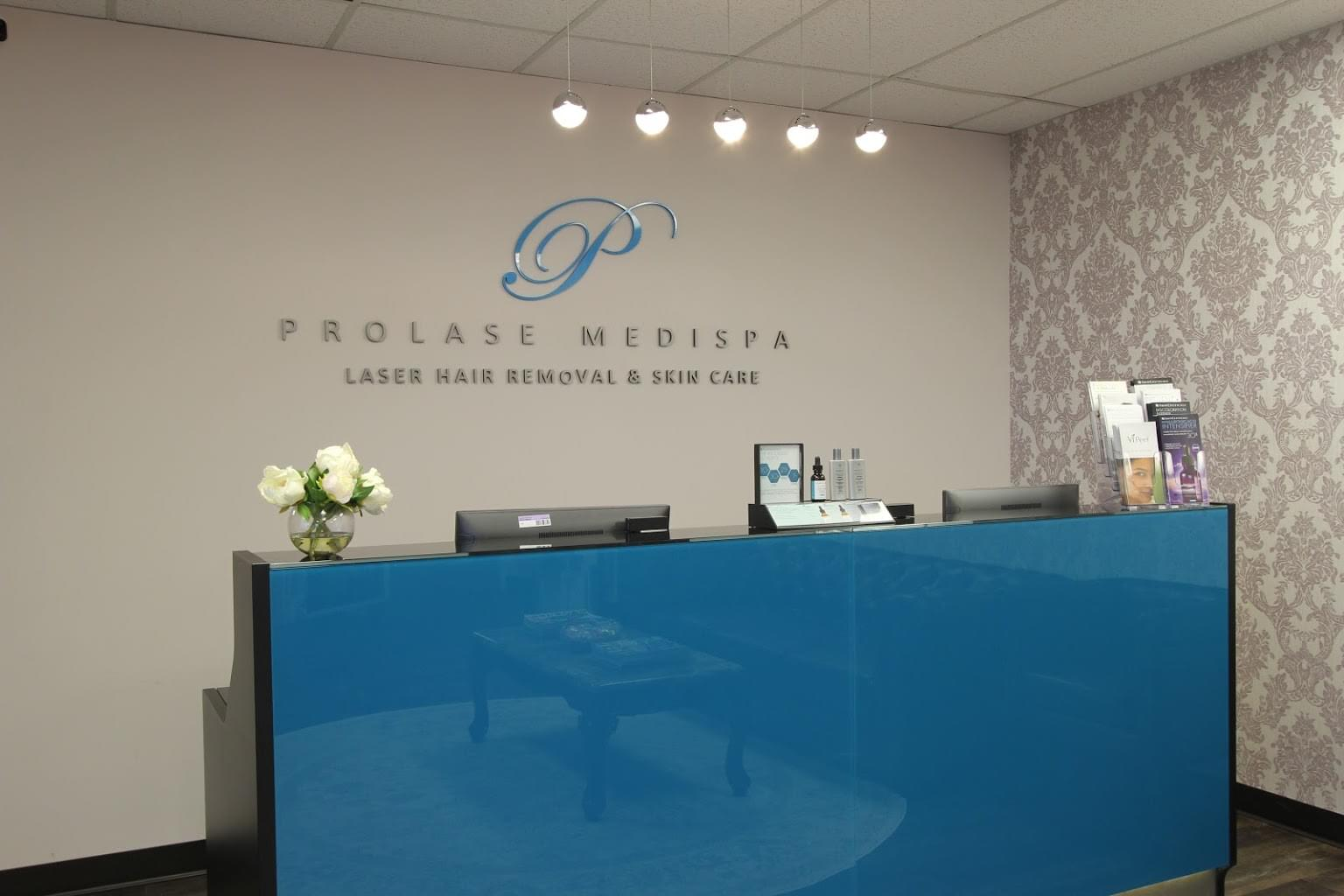 receptionist desk at Prolase Medispa medical spa in Fairfax, VA