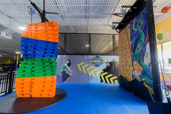 rock-climbing at Funzilla amusement center in Fairless Hills, PA