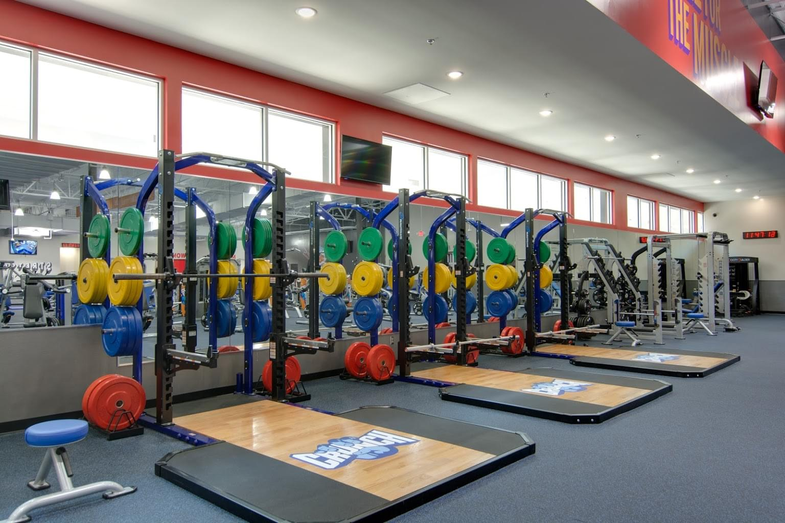 squat racks at Crunch Fitness Midlothian Gym and Health Club in Richmond, VA