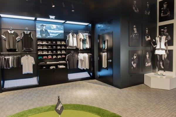 apparel display at Parsons Xtreme Golf store PXG in Chicago, IL