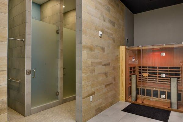 shower and sauna in Crunch Fitness fitness gym in Raleigh, NC