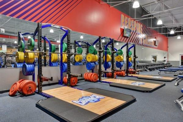 squat rack at Crunch Fitness fitness gym in Raleigh, NC