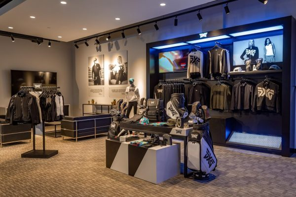 apparel display at Parsons Xtreme Golf store PXG in Minneapolis, MN