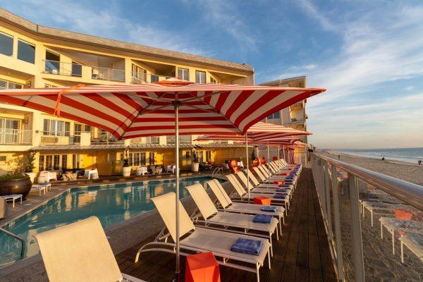 beach chairs at Beach Terrace Inn beach-side hotel in Carlsbad, CA