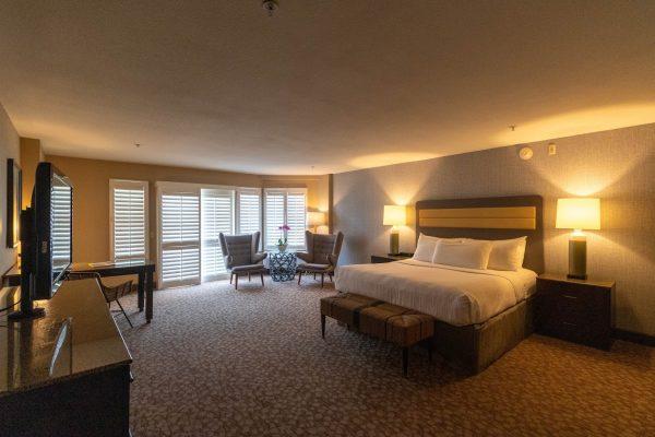 bedroom at Beach Terrace Inn beach-side hotel in Carlsbad, CA