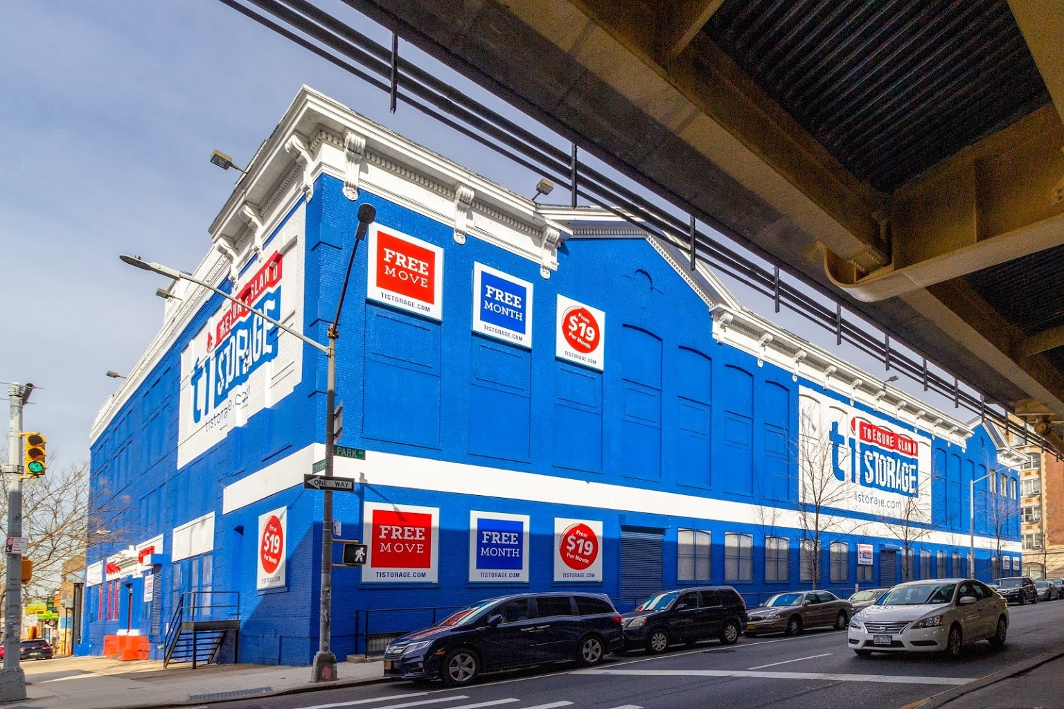 exterior building of Treasure Island Storage facility on Clinton Ave in Brooklyn, NY