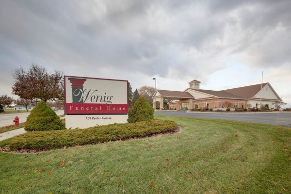 front sign at Wenig Funeral Homes in Oostburg, WI