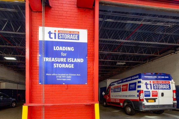 loading bay at Treasure Island Storage facility on Clinton Ave in Brooklyn, NY
