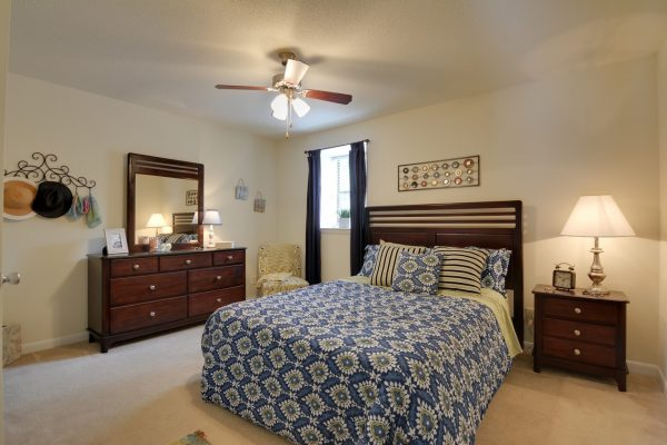 model bedroom at Cross Creek Cove Apartments in Fayetteville, NC