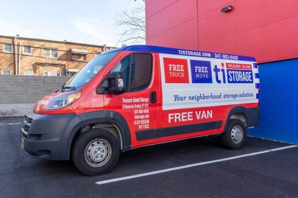 rental moving van at Treasure Island Storage facility on Remsen Ave in Brooklyn, NY