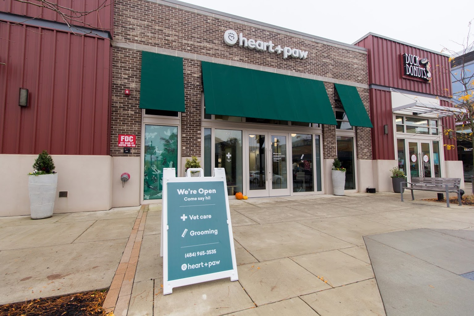 store front of Heart + Paw Dog care and Veterinary in King of Prussia, PA