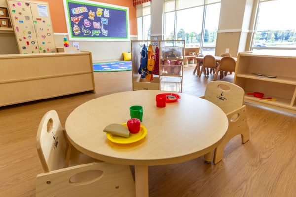 toy tea set on circle table at Lightbridge Academy Day Care in Somerset, NJ