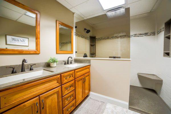 wood sink cabinets Chapman Custom Baths Bathroom remodeler in Brownsburg, IN