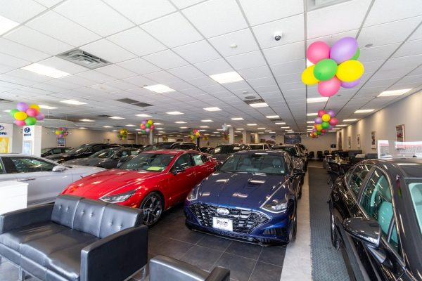 red and blue cars in Plaza Hyundai Car dealer in Brooklyn, NY