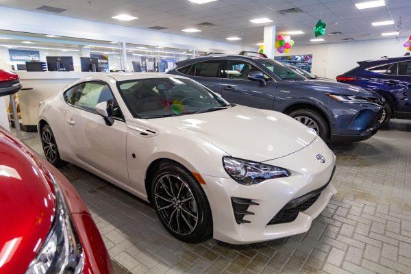 white gt86 Plaza Toyota Car Dealership in Brooklyn, NY