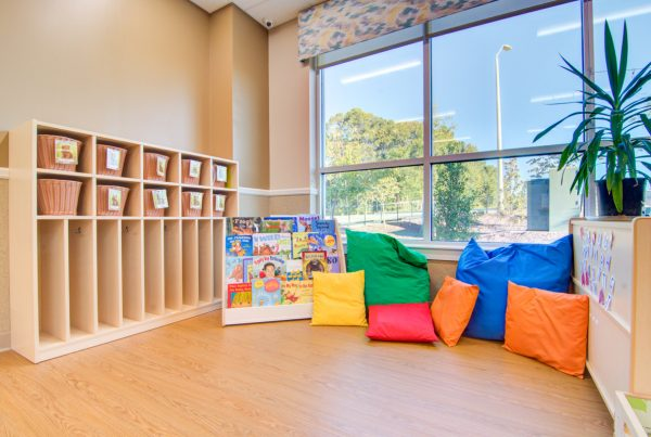 reading corner at Lightbridge Academy 360 Tour of Day Care in Holly Springs, NC